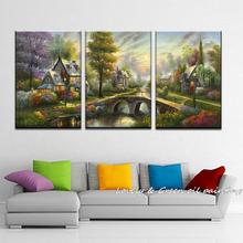 3 Piece  Giclee art thomas kinkade landscape oil painting prints on canvas wall art picture for living room home decor 40x60cmX3