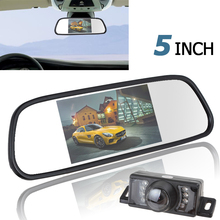 5 Inch Color TFT LCD Car Rear View Mirror Monitor Parking Wide View Angle + 7 IR Light Waterproof Car Rearview Reverse Camera