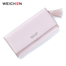 WEICHEN Fashion Pink Tassels Wallet For Women Lady Long Clutch Wallets Brand Female Change Purse Hasp Coin Pocket Card Holder(China)