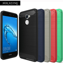 HOLAZING Glossy Rugged Full Body Armor Case for Huawei Y7 Prime Anti-Shock Absorption Luxury Carbon Fiber Design Cover(China)