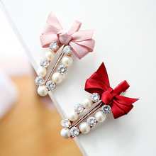 M MISM 2017 Cute Ribbon Bow Hairpins Pearl Barrettes Headwear For Children Girl Clamps Hair Jewelry Kids Hair Clips Accessories