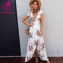Buy BellFlower Summer Dress Women Beach Dress Short Sleeve Irregular Dress Floral Printed V-Neck Sexy Dress Long Split Dress Vestido for $18.41 in AliExpress store