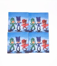 20pcs/lot PJ Mask theme party paper napkins happy birthday party supplies PJ Mask paper tissue towels favors 33*33CM(China)