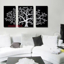 Hot Wall Painting Abstract Home Decor Art Picture Paint White Tree On Canvas Chinese Style Picture Black Background Oil Painting