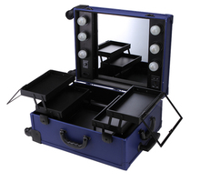 Makeup Artist Station Pro Lighted Mirror Case Wheeled Salon Cosmetic Studio Box Three Colors(China)