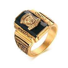 Retro Gold-color Rings For Men Stainless Steel 1973 Walton Tiger Head Class Ring Men Jewelry High Quality Blue red green black(China)