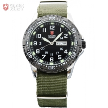 SHARK ARMY Date Day Stainless Steel Rotate Bezel Analog Green Nylon Fabric Band Military Quartz Men Boy Sport Watches / SAW020(China)