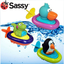 Creative Sassy wound-up  animal back guy bath toys aquatic animal Plastic boat baby Plastic toy 3pc