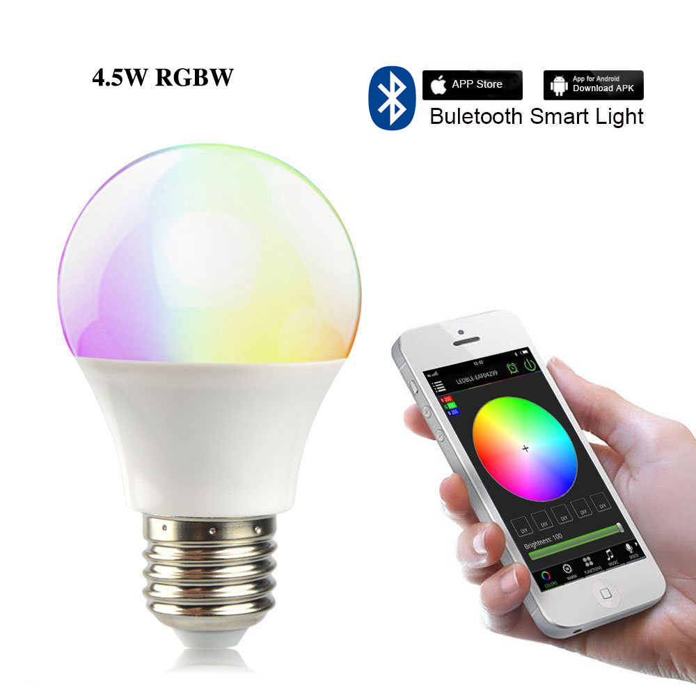 Firecore 4.5W smart RGB+Warm white led light bulb E27 Bluetooth lighting music spotlight dimmable by Phone<br><br>Aliexpress