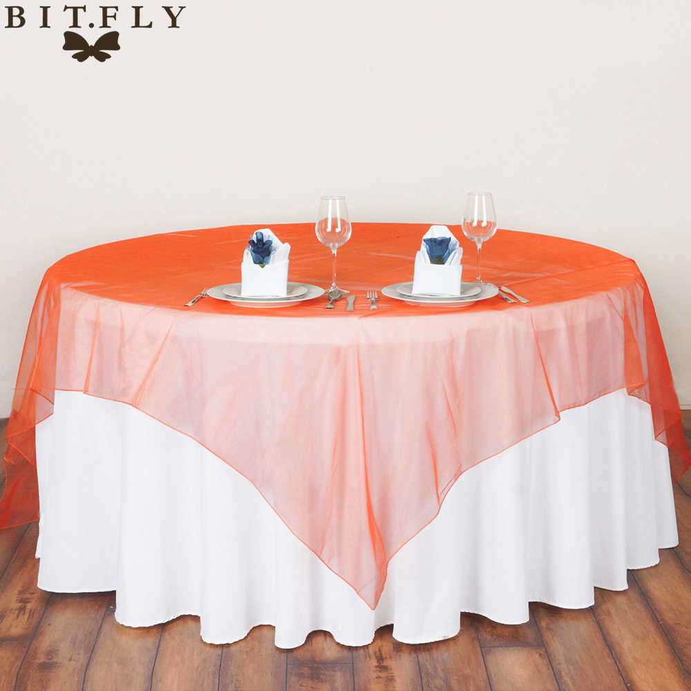 Square Fabric Table Cloth 180*180cm Organza Tablecloths for Wedding Decoration Party Table Cover 5Piece(China (Mainland))