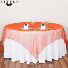 Square Fabric Table Cloth 180*180cm Organza Tablecloths for Wedding Decoration Party Table Cover 5Piece(China)