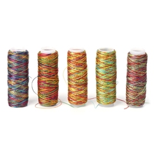 High quality Variegated 150D Polyester machine/hand sewing thread Rainbow color colorfull embroidery thread W215(China)