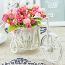 Vase Flowers Artificial Silk Flower Basket Set for Home office Decoration home flowers decoration for wedding(China)
