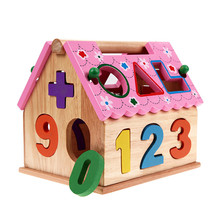 3D Assembly House Toy Numbers Geometry Patterns Holes Matching Jigsaw Puzzle Children's Educational Puzzle House Toy