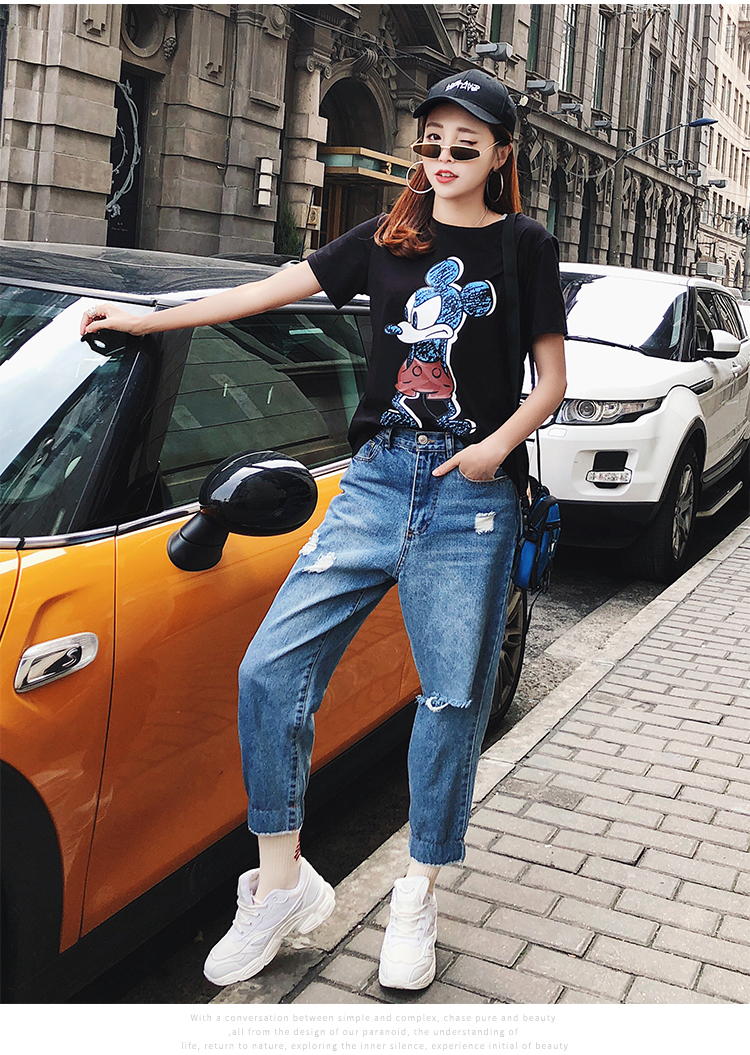 2019 Summer New Women's T-shirt Fashion Casual Mickey Mouse Printing Round Neck Short Sleeve Loose Female Tshirts 9 Online shopping Bangladesh