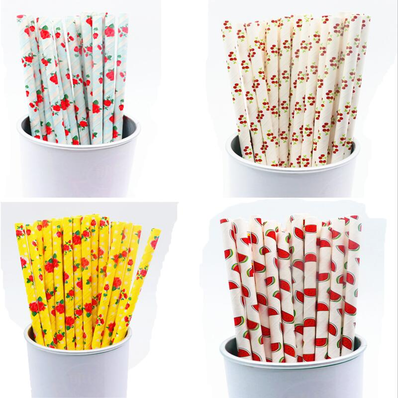 25PCS Cherry Drink Paper Straws Birthday Party Supplies Theme Baby Shower
