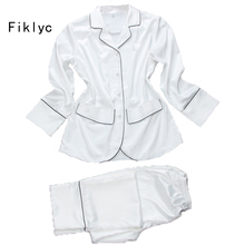 Fiklyc brand long sleeve tops + long pants two-pieces women's spring pajamas set free shipping silk satin sexy female nightwear(China)