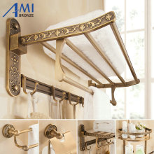 Antique Brushed Carved Space Aluminum Bathroom Fixture Towel Shelf Paper Holder Cloth Hook Bath Hardware A270 Series(China)
