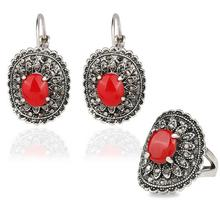 Hot Sale Bohemian Afran Beads Class Jewelry Set Antique Silver Color Red Stone Opal Resin Ring+Earring Jewellery