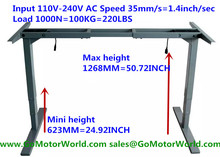 Electric height adjustable desk mini height  623mm max height 1268mm 35mm/s speed 110V-240V 1000N 100KG 220LBS lift