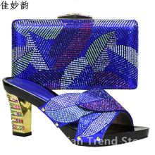 Blue Color Nigerian Dress Bag Matching Shoe Set with Stone Italian Matching Shoe and Bag Set Wedding Shoes and Bag High Heels