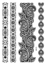 LS-628/ LatestLady New Lace Black Henna Temporary Tattoo Sticker Totem Bracelet Designs Brand Body Art for Women Tatuagem