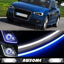 Flexible LED Tube Strip Style Car Headlight Light Blue/White Switchback For A3 A4 Quattro Q7 R8 RS4 TT Quattro 2x 60cm DRL(China)