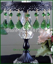 Free Shipping 50PCS/lot, 75CMM Garland Strand Green Glass Crystal lighting parts,crystal cake topper, crystal chandelier pendant