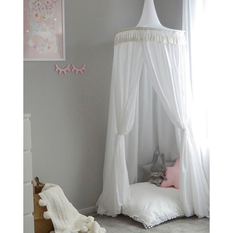 Baby Girl Crib Netting Princess Tassel Dome Bed Net for Children Canopy  Girl Bedding Round Lace Mosquito Net For Baby Sleeping<br>