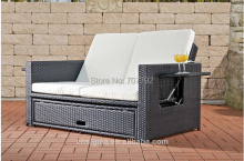 2014 Multi-fuction Flexible Rattan Ootdoor Garden lounge Sofa Bed(China)