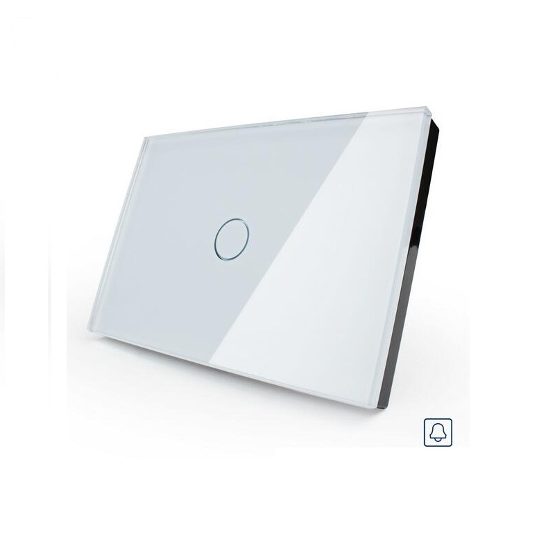 Free Shipping, Smart home, White Crystal Glass Panel, AC110~250V, LED indicator, US Doorbell Switch OS-001B-81<br>