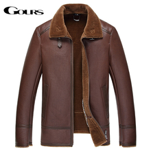 Gours Winter Genuine Leather Jacket for Men Fashion Brand Brown Sheepskin Jackets and Coats with Wool Lining New Arrival 4XL(China)