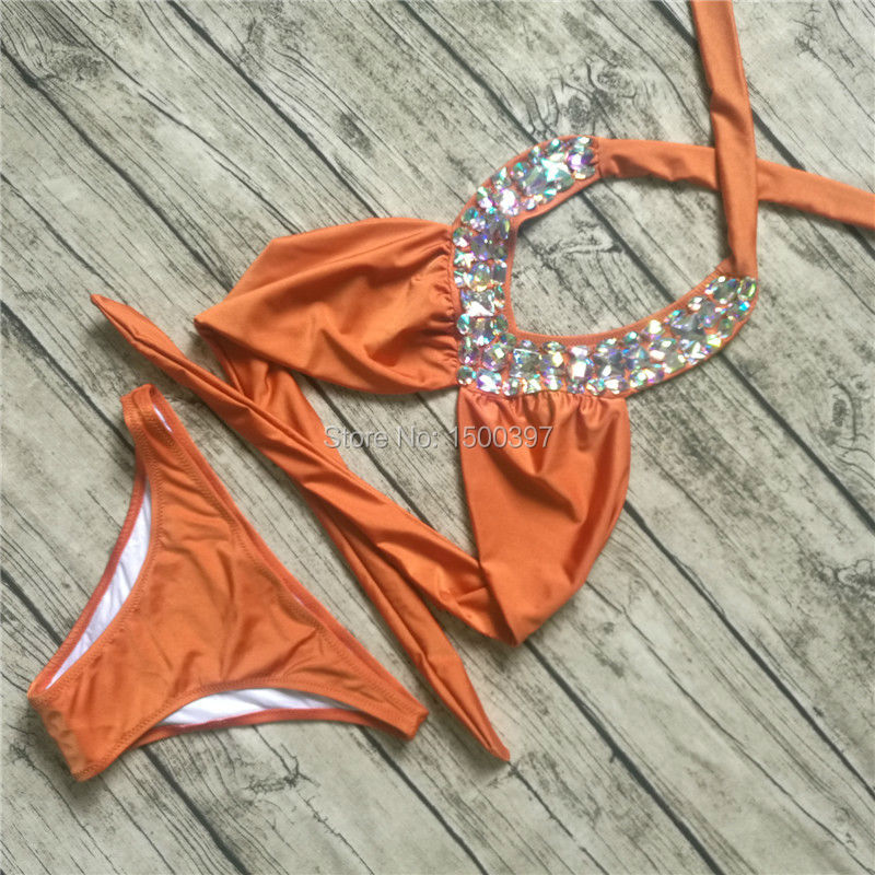 2017 New Pink/Black/Yellow Color High Neck Bandage with Rhinestones Bikini Set Sexy diamond Swimsuit Women Swimwear Biquini<br>