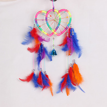 Handmade Rainbow Dream Catcher Dreamcatcher Double Peach Heart Door Hanging Home Decoration Bead Ornament Craft Hot Sale