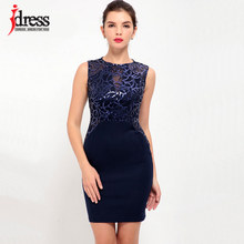IDress Factory above Knee & Long Bodycon Dress Sexy Summer Party Dresses Syigw Vestitos Robe Femme Ete 2017 Women Sequin Dress(China)