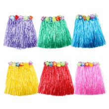 Wholesale 1PCS Plastic Fibers Kid Grass Skirts Hula Skirt Hawaiian costumes 30CM Girl Dress Up Party Supplies 10 Colors