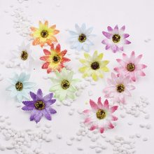 50PCS/lot 5.5cm Fake Chrysanthemum Flower Heads Artificial Silk Daisy,Photography Props Wedding Decorations,Home Decor(China)