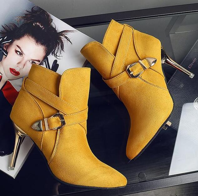 Hot!2016 new fashion women Pointed boots buckle high heel Martin boots women high heels Naked boots women boots free shipping <br><br>Aliexpress