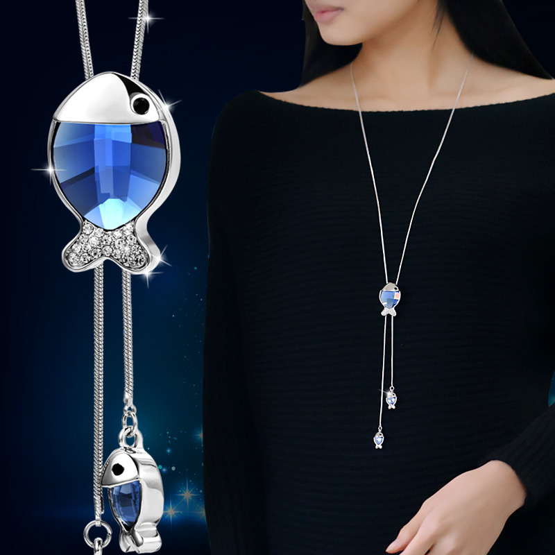 Women Crystal Fish Tassel Long Necklace 2016 Fine Snowflake Bolo Tie Pendant Necklace Jewelry Bijoux Christmas Gift(China)