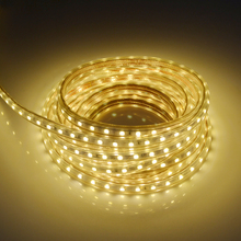 SMD5050 LED Strip AC 220V Fiexble LED Light 1M/2M/3M/4M/5M/10M 60leds/M Home Decoration Lamps Waterproof With EU Plug(China)