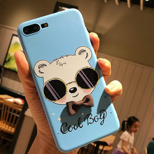 blue glass bear cool boy brown bowknot bow cute cover for apple iphone 6s 6 plus iPhone7 7P 8 8P X soft mobile phone case capa(China)