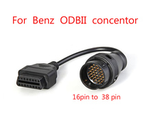 For Mercedes Benz MB OBD Connect 38 Pin Male to OBD2 OBDII DLC 16 Pin 16pin Female Connection Adapter Cables Diagnostic cable
