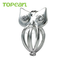 SWP10 Topearl Jewelry 5pcs/LOT Owl Cage 925 Sterling Silver Love Wish Pearl Pendant