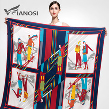 [VIANOSI] Fashion 130*130CM Satin Square Scarf High Quality Print Silk Scarves Soft Shawl Brand Hijab Accessories VA046