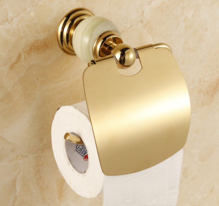 Free Shipping excellent stone &amp; brass gold and stone paper box roll holder toilet gold paper holder tissue box CY004S<br>
