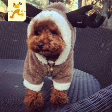 Cute Elk Deer Design Winter Four Legs Pet Clothing Thermal Polar Fleece Teddy Dog Pet Clothes XS S M L XL 1 Piece Dropshipping(China)