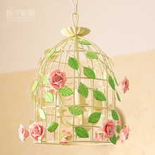 Country Style Bird cage pendant light personalized iron decoration rustic flower restaurant lights balcony lamps