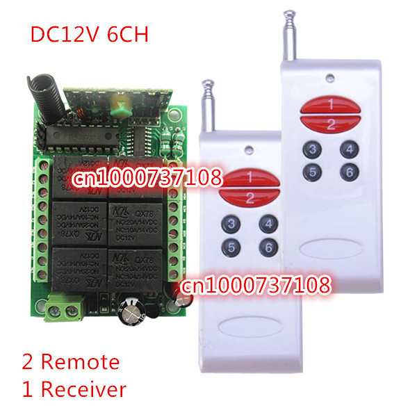 315/433.92MHz RF Transmitter Receiver Remote Control Switches DC12V 6CH 10A Relay Controller Remote Lighting ON OFF Switch<br><br>Aliexpress