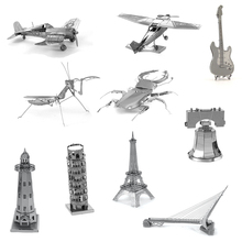3D Metal Model Puzzle Building Insect Ship Castle Bridge Fighter DIY Jigsaw Gifts Educational Toys For Children