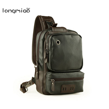 longmiao New Fashion PU Leather Men Bag Large Capacity Brand Design Chest Pack Vintage Casual Men Shoulder Crossbody Bags(China)